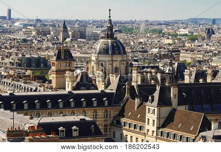Paris France - aerial city view with Church of Val-de-Grace. UNESCO World Heritage Site.
