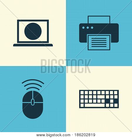 Notebook Icons Set. Collection Of Web, Computer Mouse, Printing Machine And Other Elements. Also Includes Symbols Such As Mouse, Machine, Keyboard.