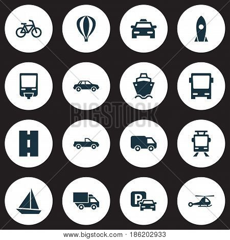 Transportation Icons Set. Collection Of Yacht, Streetcar, Spaceship And Other Elements. Also Includes Symbols Such As Road, Way, Train.