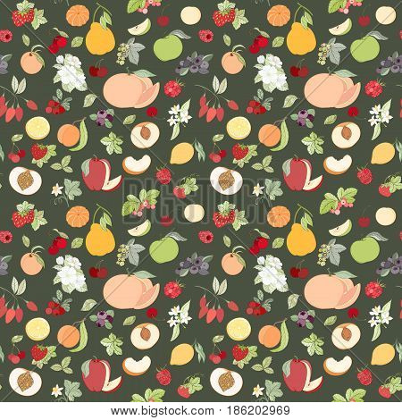 Assortment fruit seamless pattern for wallpaper, website or textile printing. Hand drawn endless illustration of apple, apricot, berries, grapefruit, orange, peach, pear, strawberry on dark background