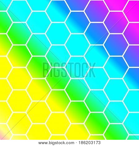 hexagon pattern background with white outlines vector