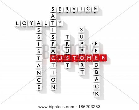Crossword puzzle showing customer keywords as dice on white business concept flat design 3D illustration
