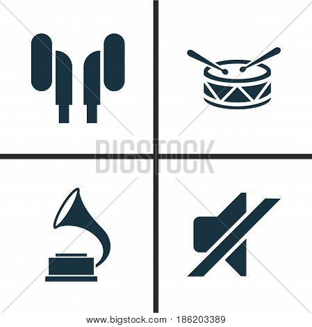 Audio Icons Set. Collection Of Silence, Phonograph, Earmuff And Other Elements. Also Includes Symbols Such As Headset, Barrel, Drum.