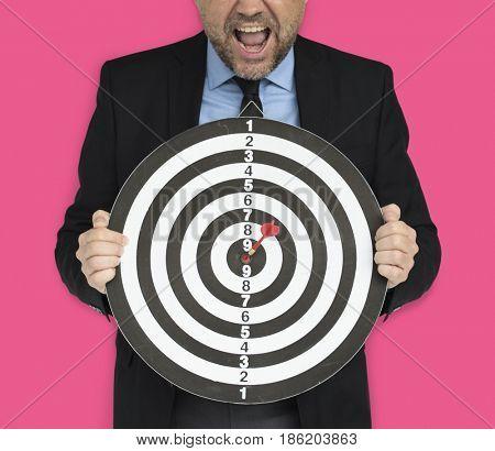 Business Man Dartboard Bullseye