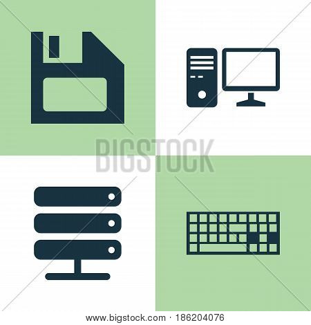 Laptop Icons Set. Collection Of Personal Computer, Diskette, Database And Other Elements. Also Includes Symbols Such As Database, Personal, Computer.