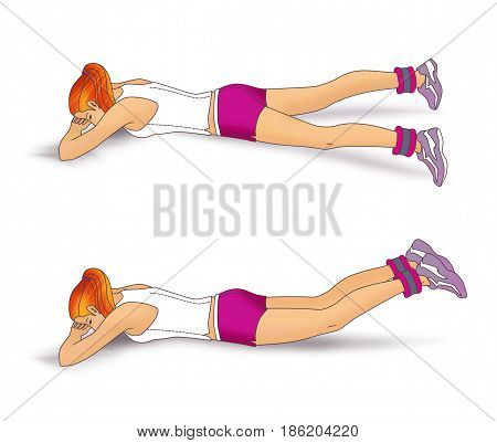 The girl lies face down on the folded hands and performs an exercise to strengthen the muscles of the buttocks: inverted scissors with use of weighting for the legs. Isolated on white background poster