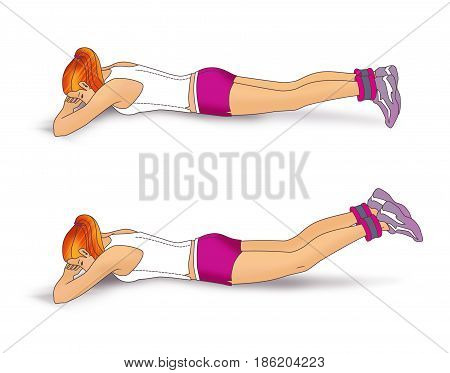 The girl lies face down on the folded hands and performs an exercise to strengthen the muscles of the buttocks: inverted scissors with use of weighting for the legs. Isolated on white background