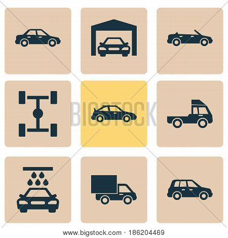 Automobile Icons Set. Collection Of Convertible Model, Lorry, Repairing And Other Elements. Also Includes Symbols Such As Wheelbase, Truck, Water.