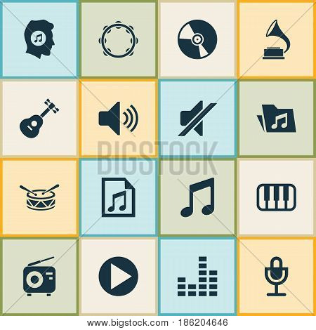 Audio Icons Set. Collection Of Mike, Tuner, Start And Other Elements. Also Includes Symbols Such As File, Start, Meloman.