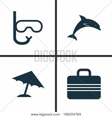 Sun Icons Set. Collection Of Tube, Mammal, Baggage And Other Elements. Also Includes Symbols Such As Baggage, Beach, Umbrella.
