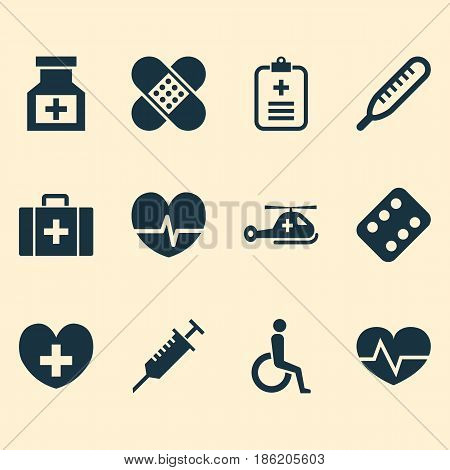 Antibiotic Icons Set. Collection Of Drug, Analyzes, Mercury And Other Elements. Also Includes Symbols Such As Chest, Care, Stings.