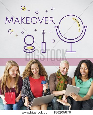 Group of women with beauty cosmetics makeover skincare