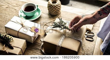 Craft design simplify wrapping gift on wooden table