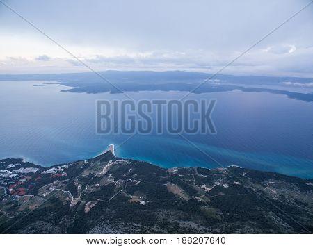 Moody aerial view of Adriatic in Croatia