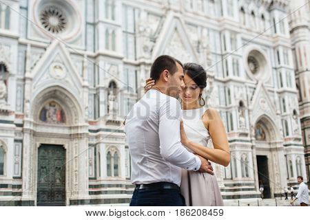Young Couple Honeymoon walking in Florence Italy