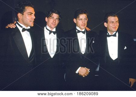 LOS ANGELES - MAR 11:  Richard Greico, Patrick Dempsey, Costas Mandylor, Christian Slater at the  People's Choice Awards at the Pasadena Civic Auditorium on March 11, 1991 in Pasadena, CA