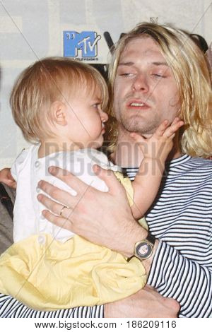 LOS ANGELES - SEP 2:  Frances Bean Cobain, Kurt Cobain at the 10th Annual MTV Video Music Awards at the Universal Ampitheater on September 2, 1993 in Los Angeles, CA