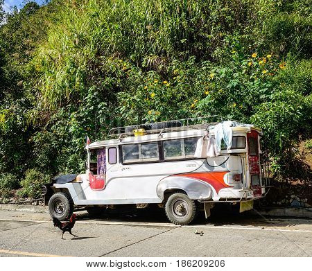 Vehicles On Street In Banaue, Philippines