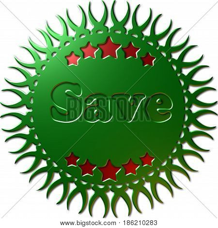 A 3D green metallic seal with complex edges cut into it stars in red and the text