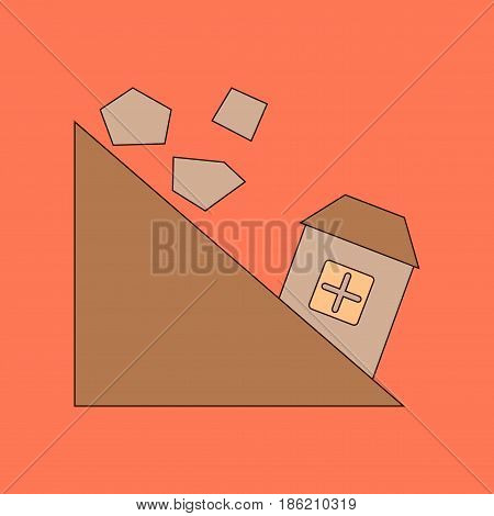 flat icon on stylish background Mountain stones fall