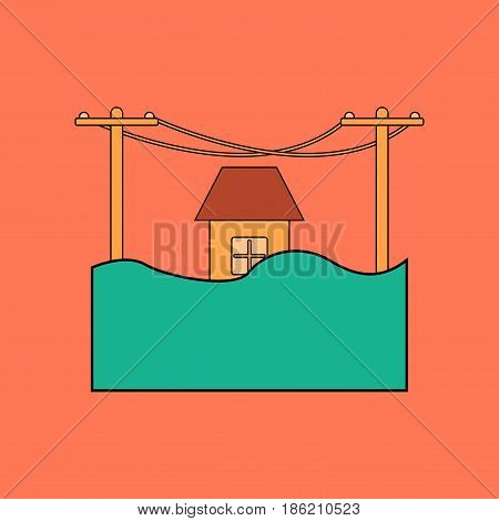 flat icon on stylish background flood house