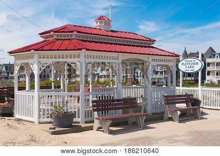 Ocean Grove NJ USA -- May 12 2017 -- A red-roofed Gazebo in Ocean Grove NJ. Editorial Use Only
