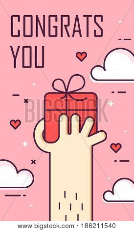 Thin line flat design greeting card. Hand and gift box. Congrats you. Vector banner.