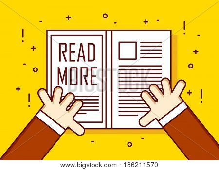 Hands with book. Read more.Thin line flat design card. Vector education banner.