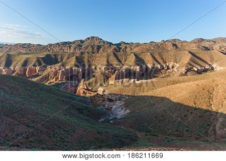 In Charyn Canyon large stones and rocks of various shapes visit to Kazakhstan sights of Kazakhstan