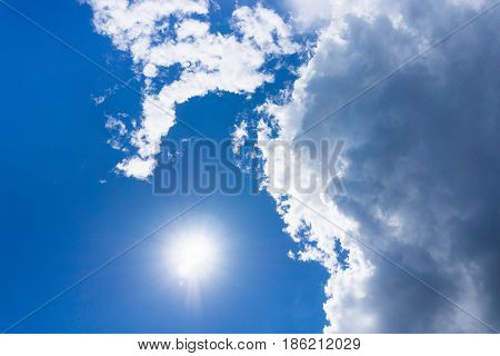 View on beautiful white clouds in a blue sky. Clouds and Skies in the Morning.  Sunny Day .Cloudy Weather. Cloud Formations. White Clouds
