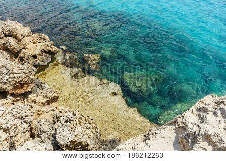Rocky coast in Ayia Napa overlooking the Mediterranean Sea