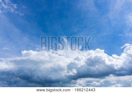 View on impressive cloud formations in a blue sky. Clouds and Skies in the Morning.  Fresh Air. Cloudy Weather. White Clouds