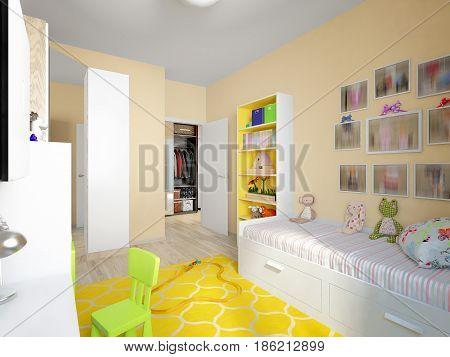Modern Urban Contemporary Children Room Interior Design for Girl. 3d rendering
