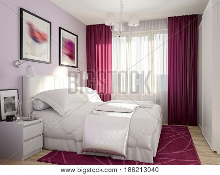 Urban Contemporary Modern Bedroom Interior Design burgundy purple curtains and carpet. 3d rendering