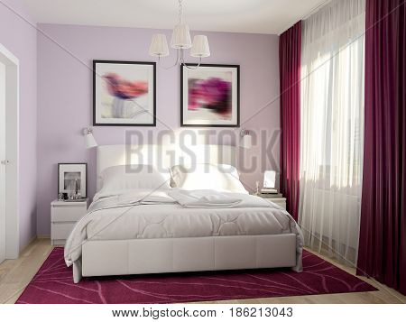 Urban Contemporary Modern Bedroom Interior Design burgundy purple curtains and carpet. 3d rendering