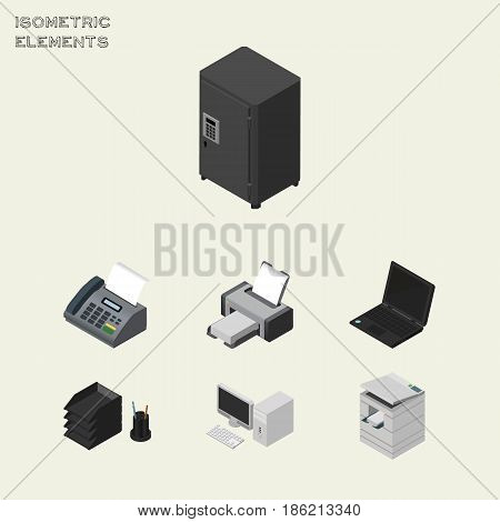 Isometric Cabinet Set Of Computer, Scanner, Laptop And Other Vector Objects. Also Includes File, PC, Rack Elements.