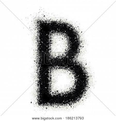 Letter B From Alphabet Exploding