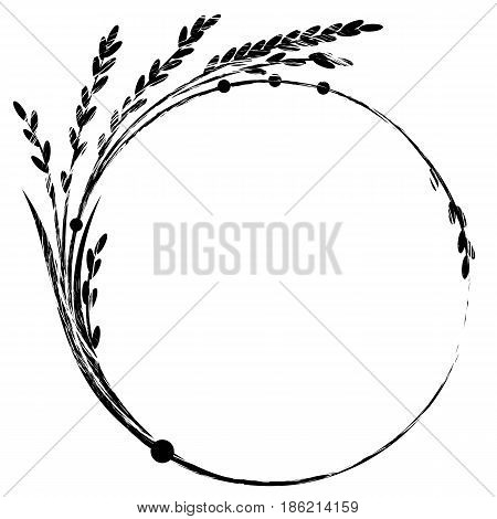 vector frame with rice in black and white colors