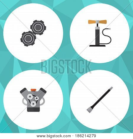 Flat Service Set Of Belt, Wheel Pump, Pipeline And Other Vector Objects. Also Includes Wheel, Pump, Belt Elements.