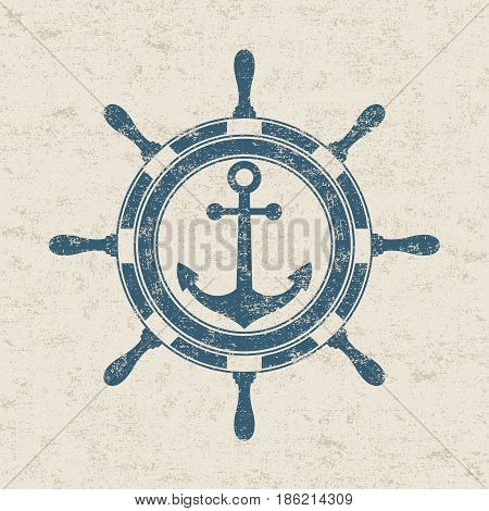 Vintage marine label is ship's wheel and anchor. Vector illustration.