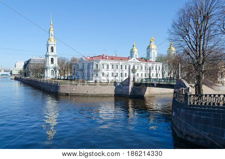Beautiful view of St. Nicholas the Epiphany naval Cathedral on Kryukov Canal Embankment in St. Petersburg Russia