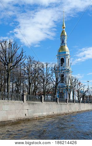 Belfry of St. Nicholas Epiphany naval Cathedral on Kryukov Canal Embankment in St. Petersburg Russia