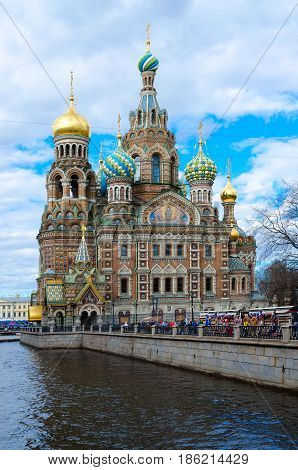 Temple of Savior on Blood (Cathedral of Resurrection of Christ on Blood) embankment of Griboedov canal St. Petersburg Russia