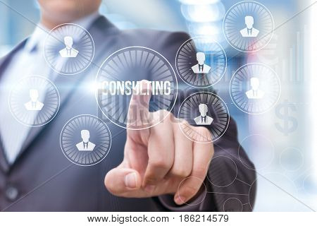 Businessman Touched Consulting Services Icon .