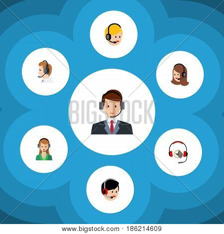 Flat Hotline Set Of Headphone, Service, Secretary And Other Vector Objects. Also Includes Headset, Secretary, Support Elements.