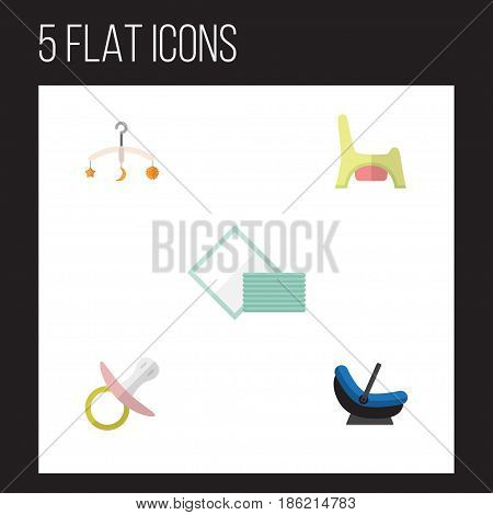Flat Child Set Of Pram, Toilet, Napkin And Other Vector Objects. Also Includes Towel, Potty, Crib Elements.