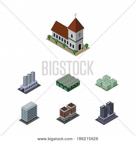 Isometric Urban Set Of Chapel, Tower, Clinic And Other Vector Objects. Also Includes Office, Tank, Warehouse Elements.