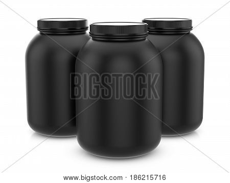 Whey Protein Containers 3D Illustration