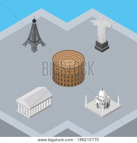 Isometric Travel Set Of Athens, Rio, India Mosque And Other Vector Objects. Also Includes Rome, Taj, Acropolis Elements.
