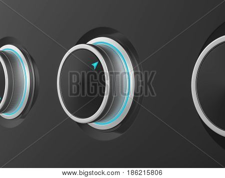 Metal sound volume control knobs. 3d Illustration.